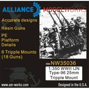 1/350 WWII IJN Type-96 25mm Triple Mount