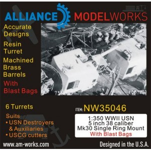 1/350 WWII USN 5 inch 38 Caliber Mk30 with Blast Bags