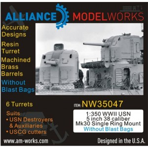 1/350 WWII USN 5 inch 38 Caliber Mk30 without Blast Bags