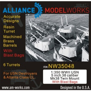 1/350 WWII USN 5 inch 38 Caliber Mk38 with Blast Bags