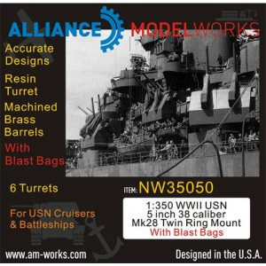 1/350 WWII USN 5 inch 38 Caliber Mk28 with Blast Bags