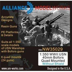 1/350 WWII USN 40mm Bofors Quad Mounted