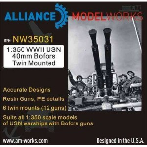 1/350 WWII USN 40mm Bofors Twin Mounted