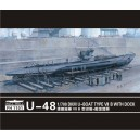 1/700 U-boat  Type VII B U-48 with dock